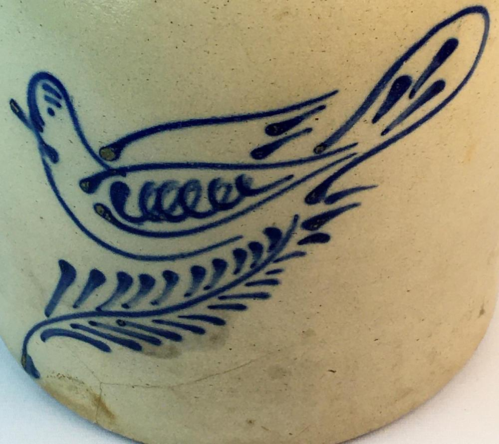 Antique c. 1870 George Hewett Boston, MA. 3 Gallon Stoneware Jug w/ Cobalt Bird on a Fern Decorated