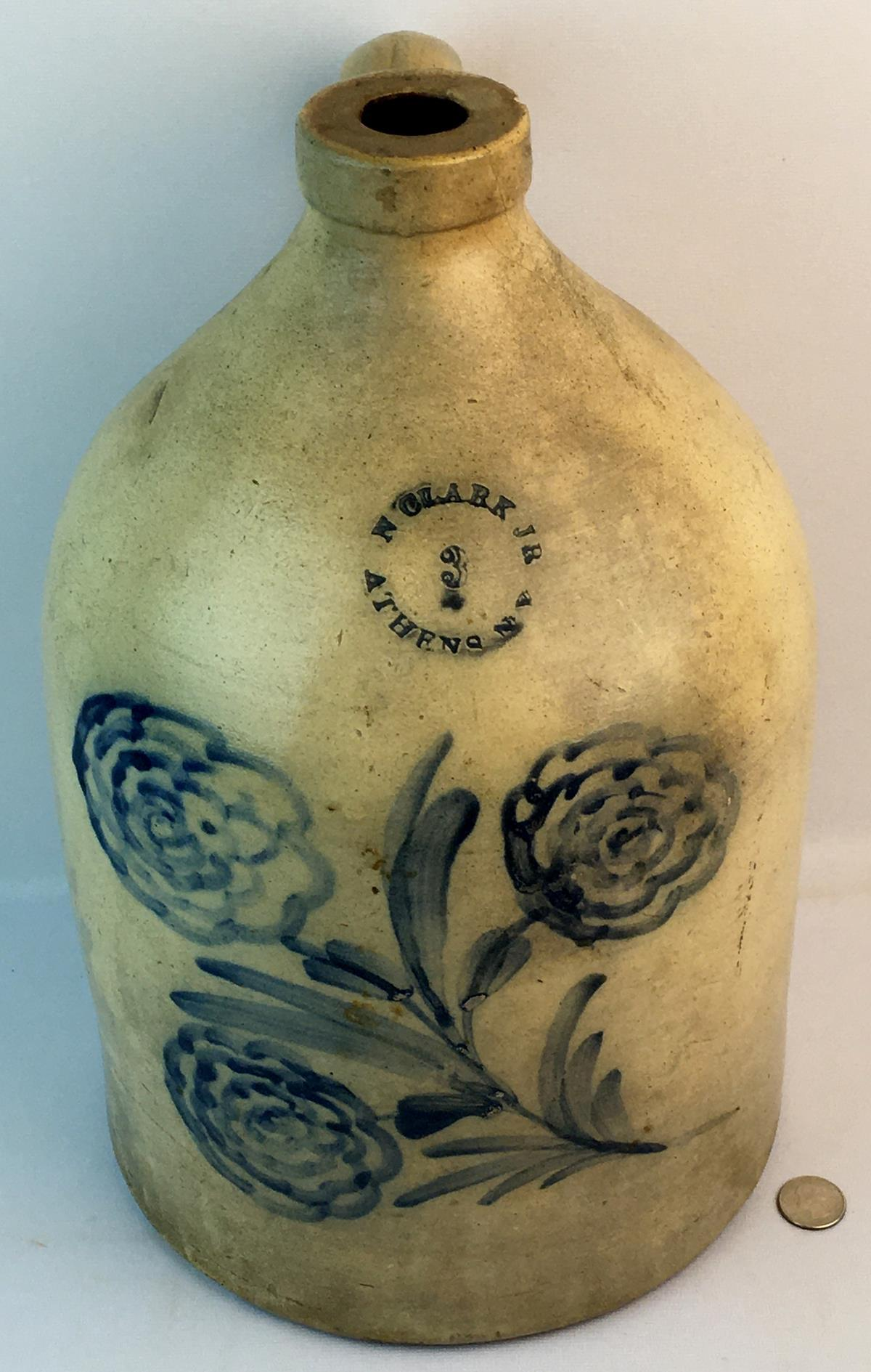 Antique c. 1860 N. Clark Jr. Athens NY 3 Gallon Stoneware Jug w/ Cobalt Floral Decoration