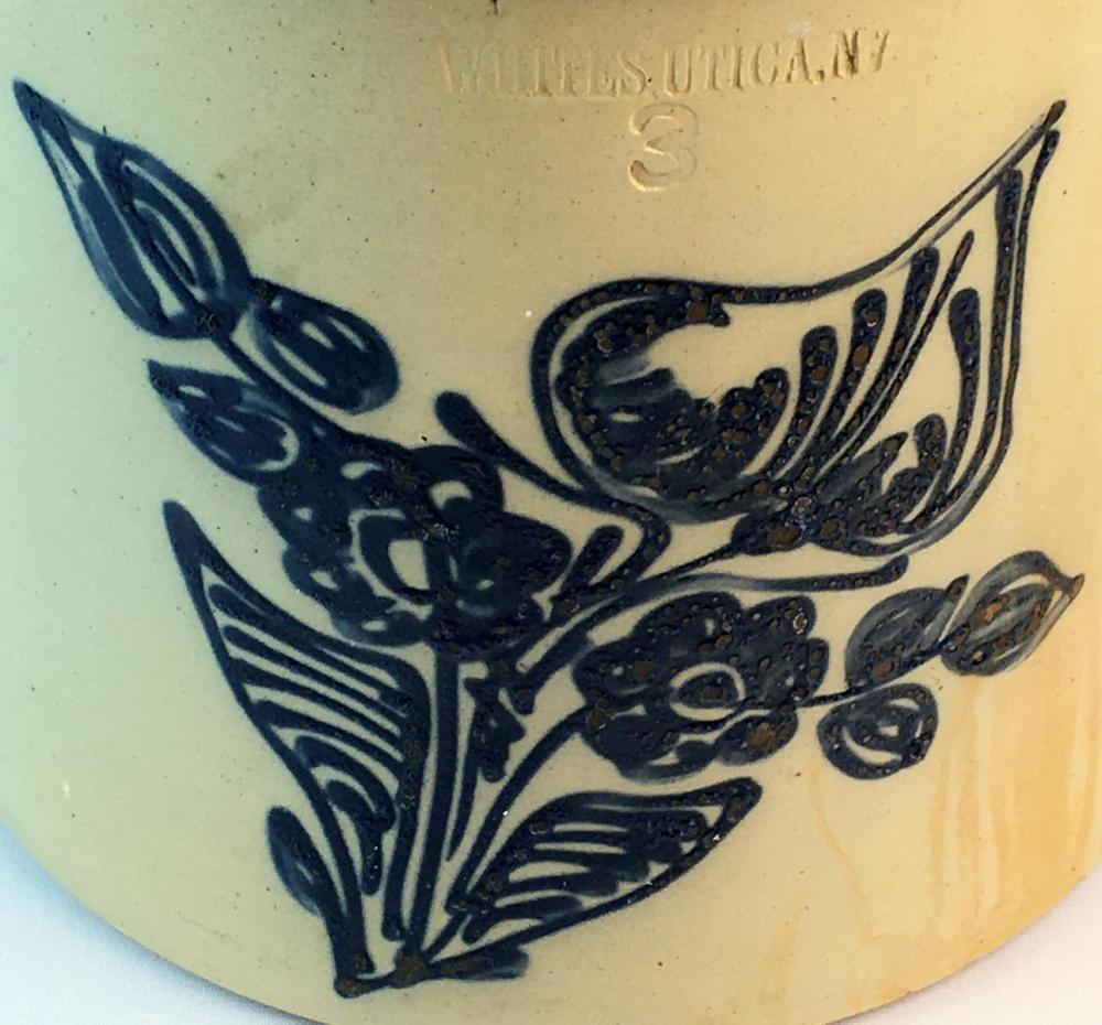 Antique c. 1860 Whites, Utica N.Y. 3 Gallon Stoneware Crock w/ Large Cobalt Floral Decoration