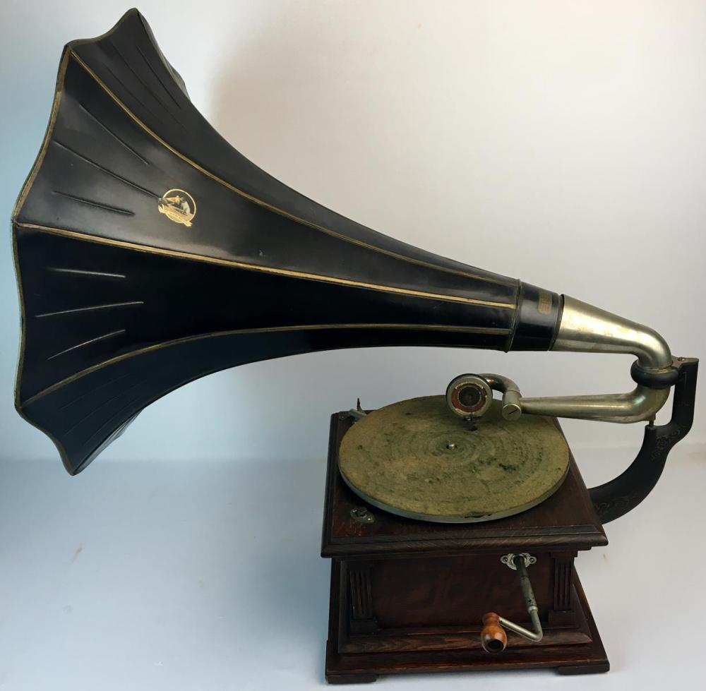 "RARE Antique 1906 Victor VIC ll (two) Talking Machine Gramophone w/ 22"" Tin Horn WORKS"