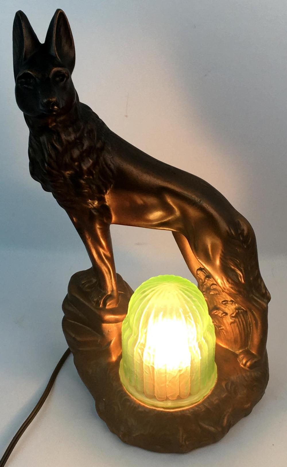 Vintage c. 1930 Art Deco Chalkware Dog Console Lamp w/ Green Uranium Vaseline Shade WORKS