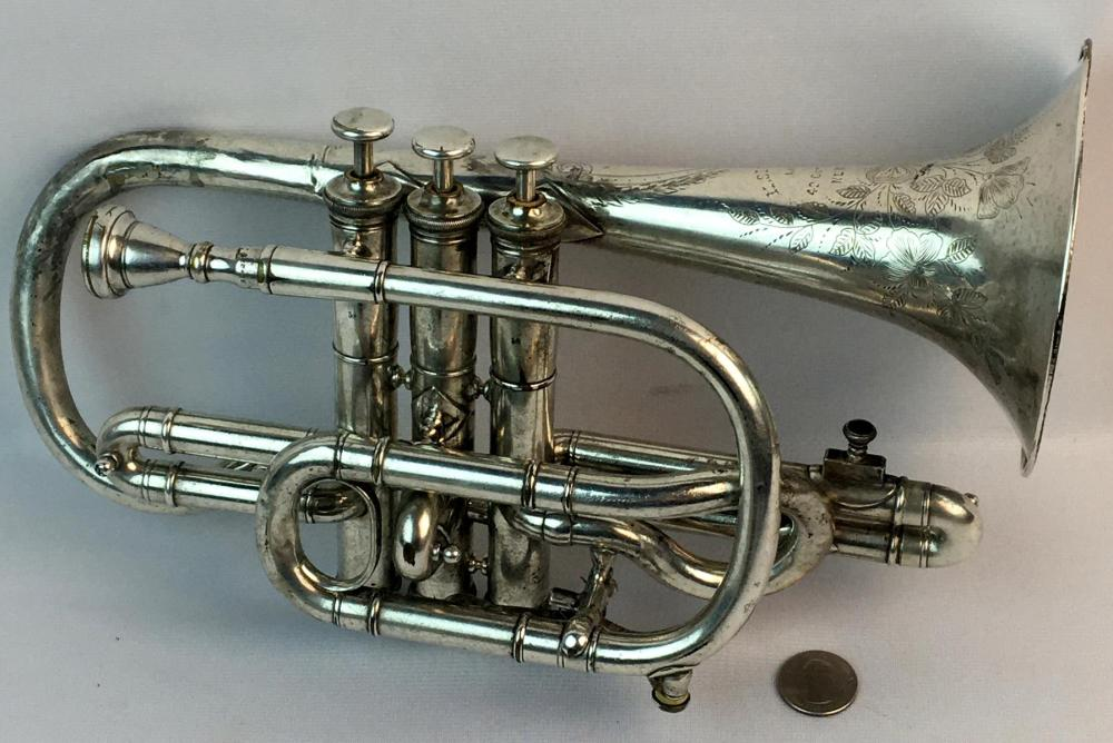 "Antique c. 1875 Moses Slater ""Ideal"" NYC Sterling Silver Cornet PLAYS"