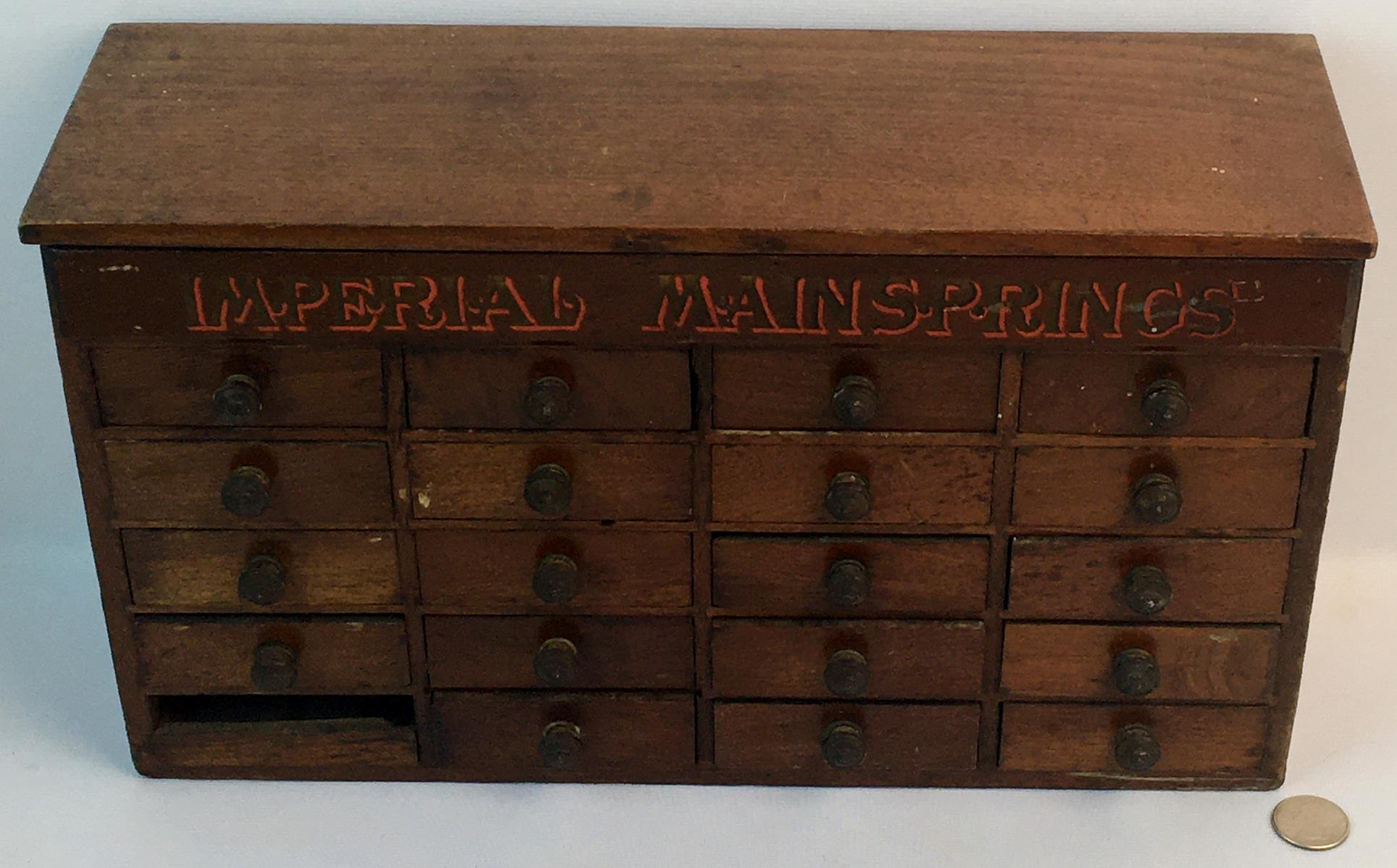 """Antique Green Bros. New York """"Imperial Mainsprings"""" 20 Drawer & Lift Top Watchmaker's Cabinet w/ Parts"""
