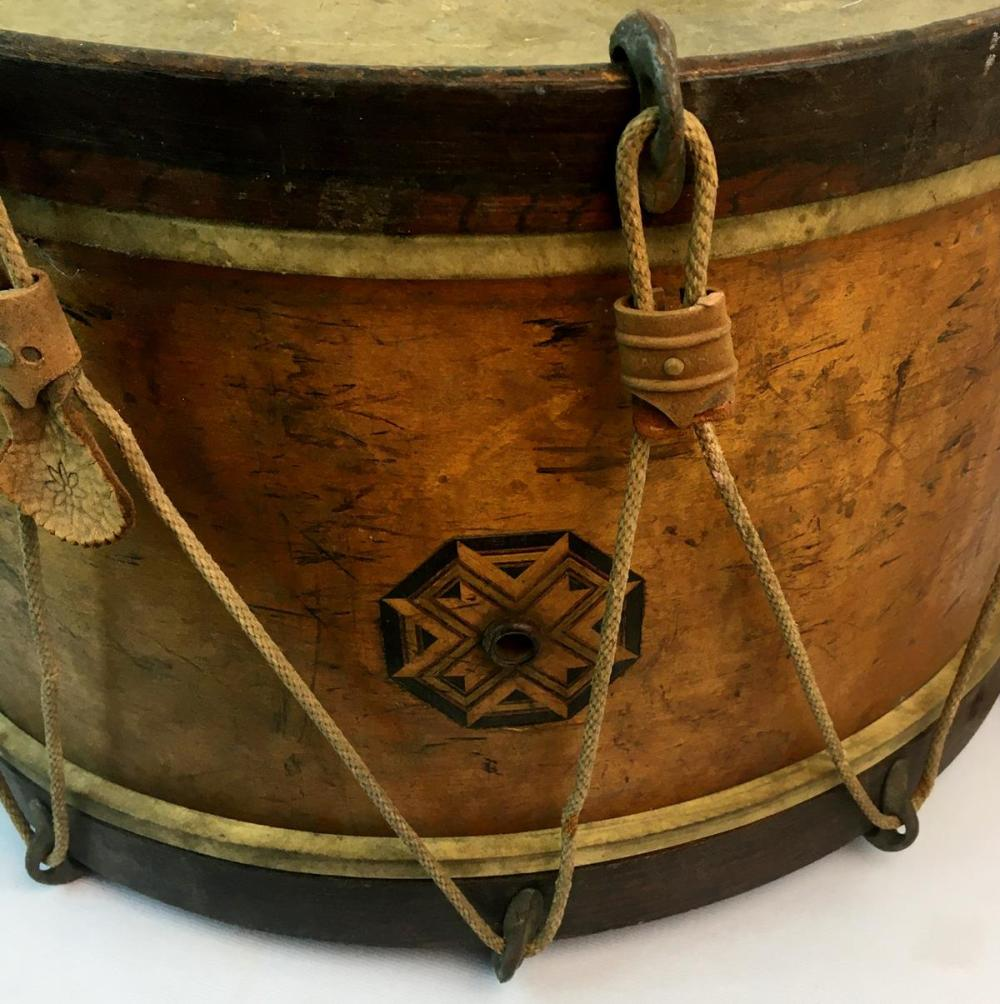 Antique Civil War Era Snare Drum Made by Lyon and Healy w/ Original Label & Braided Rope