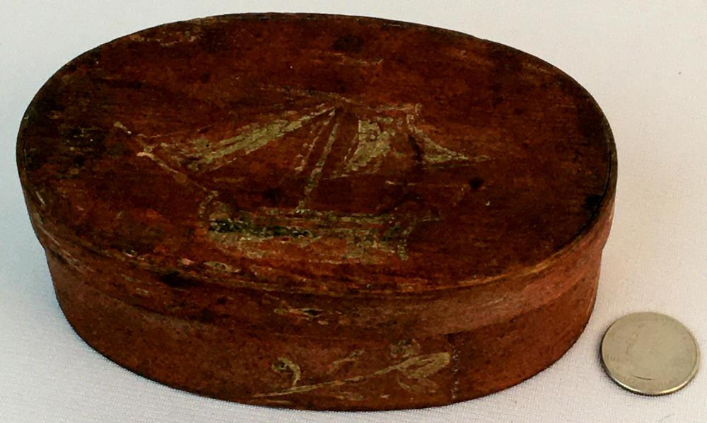 Antique Primitive c. 1820 Folk Art Nautical Ship and Floral Painted Oval Pantry Box
