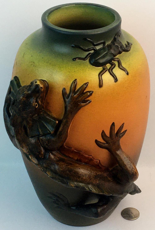 Antique 1899 P. Ipsen Lauritz Jensen Large Earthenware Art Nouveau Vase w/ Applied Lizard and Stag Beetle