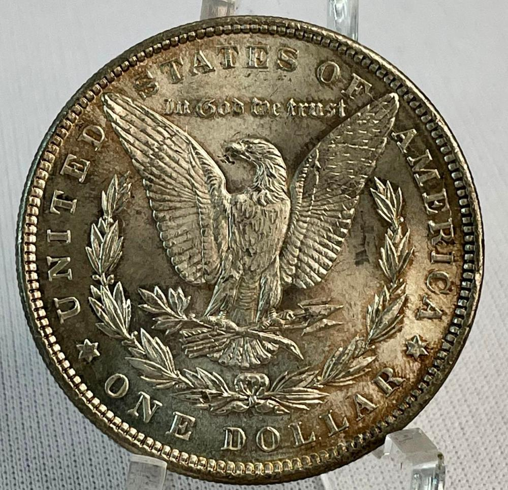 1897 US $1 Morgan Silver Dollar MS60+ Nice Toning