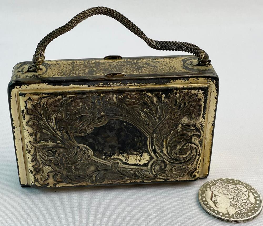 Antique Art Nouveau Silverplate Double Sided Purse w/ Vanity Items