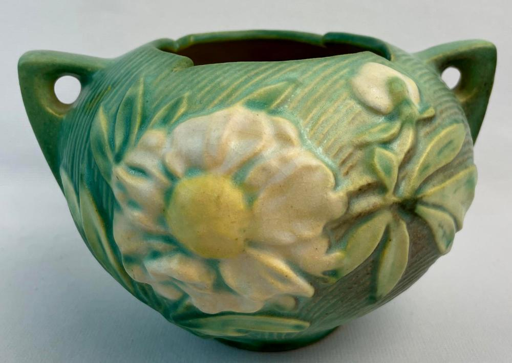 "Vintage c. 1942 Roseville Pottery Peony Green w/ White Flowers 427-4"" Two Handle Art Pottery Bowl / Vase"