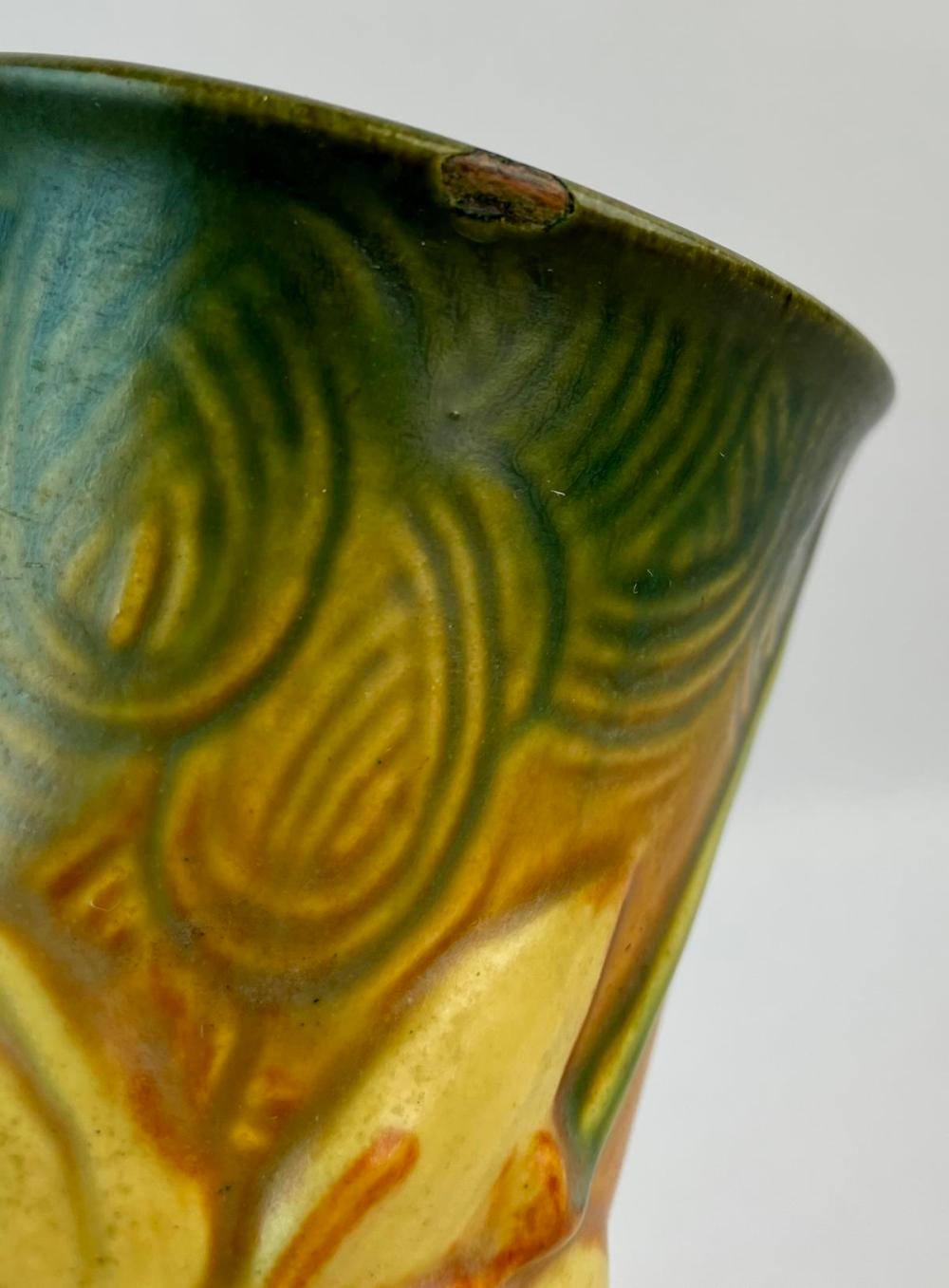 "Vintage 1940's Roseville Pottery Zephyr Lily Brown and Green 131-7"" Two Handle Art Pottery Vase"