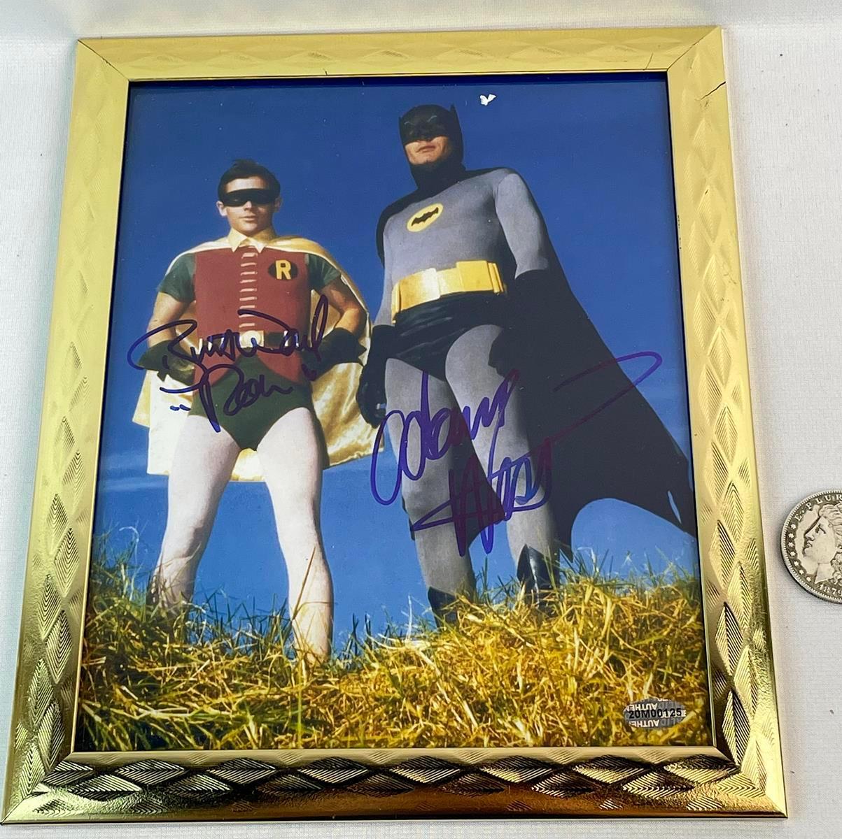 "Autographed Adam West and Burt Ward Batman and Robin Color 8"" x 10"" Framed Photo w/ COA"