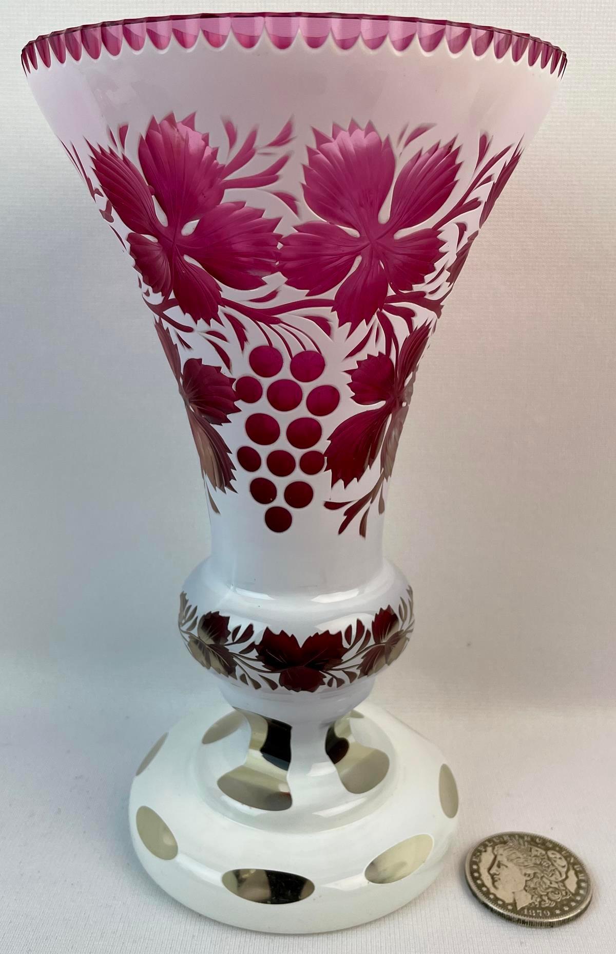 Antique Bohemian Czech White Cut-To-Clear Cranberry Vase
