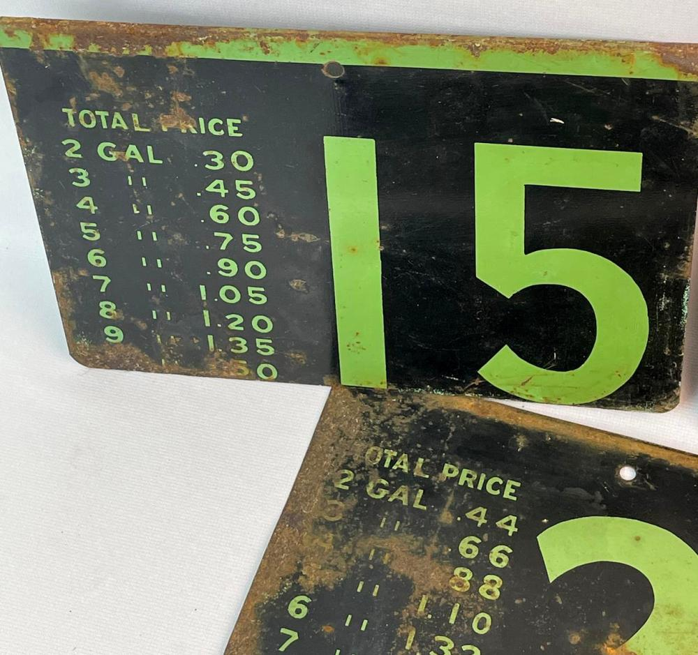 Vintage c. 1950 Lot of 7 Metal Fueling Station Gas Price Signs (15 Cents - 30 Cents)