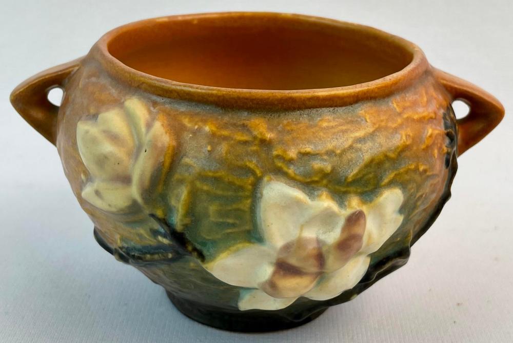 "Vintage c. 1943 Roseville Magnolia #665-3"" Brown w/ White Flowers Art Pottery Double Handled Jardiniere"