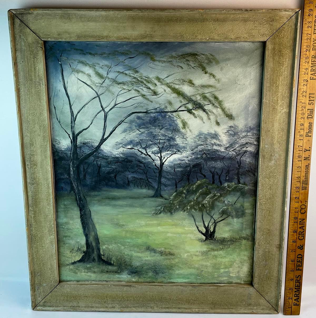 """W.C. Marshall (NYC, Early 20th Century) Landscape """" Study of Trees"""" Oil on Canvas Painting 1920 FRAMED"""