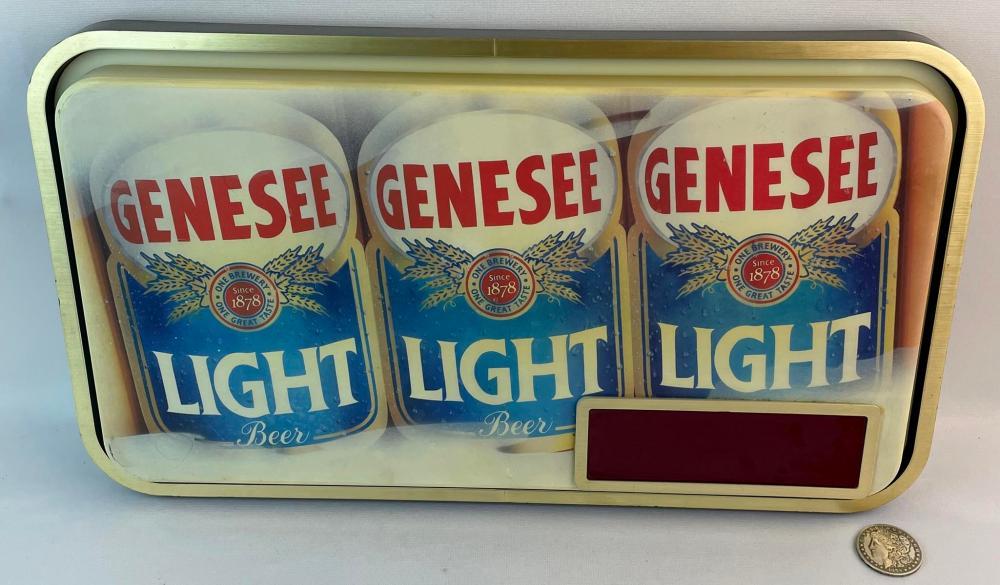 Vintage c. 1980 Genesee Beer Lighted Advertising Sign Digital Clock