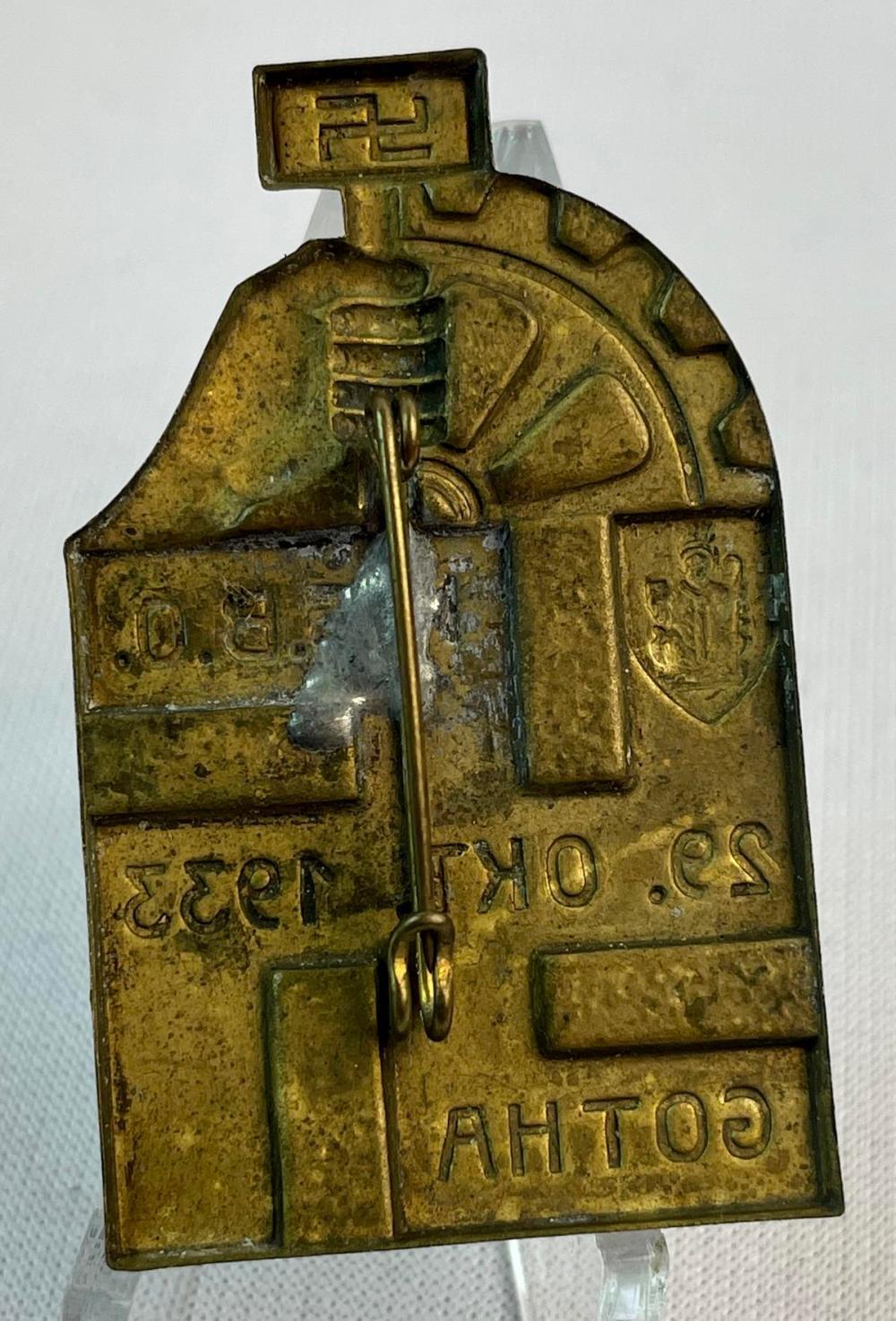 Vintage 1933 German WWII NSBO Gotha Brass Tinnie Pin