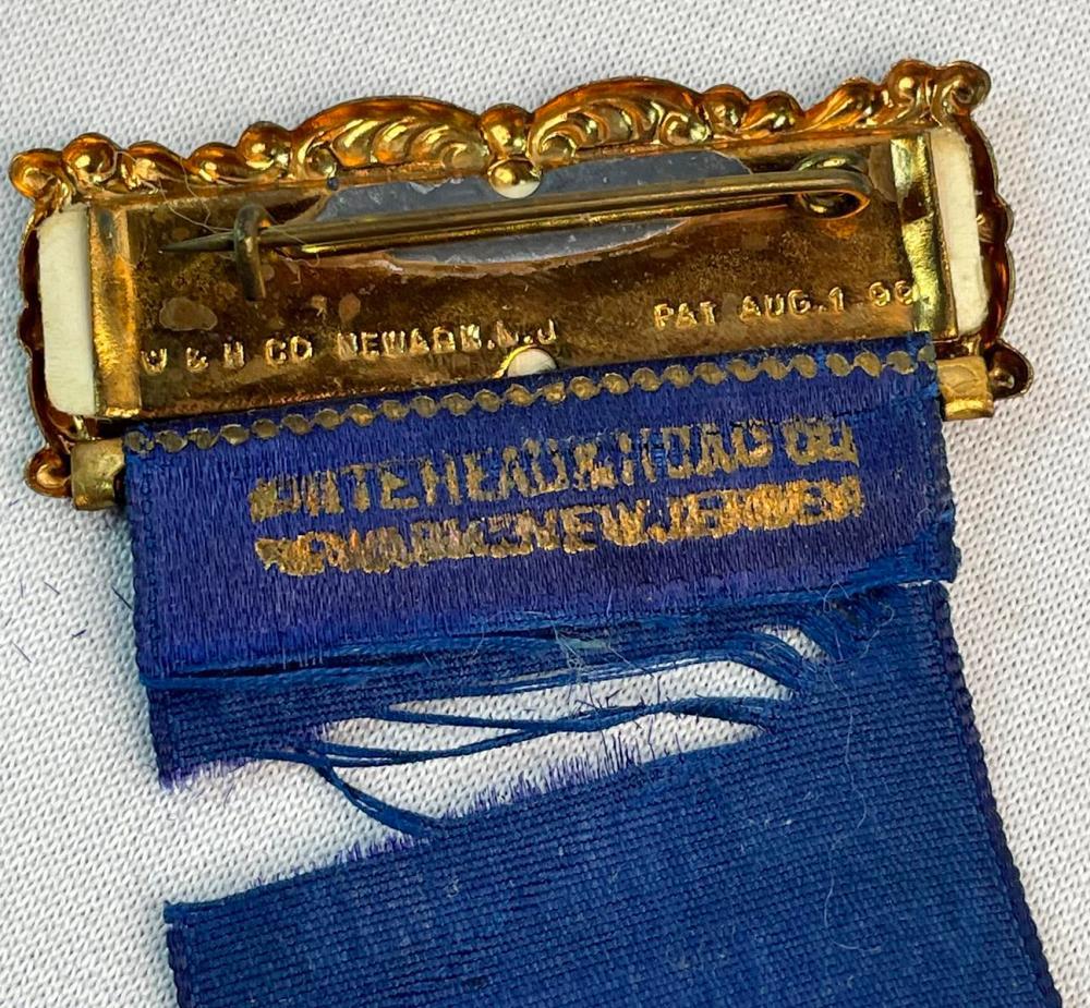 Antique 1913 GAR General N.S. Burlew 12th Regiment Geneva NY Reunion Silk Ribbon Badge w/ Celluloid Photo Button