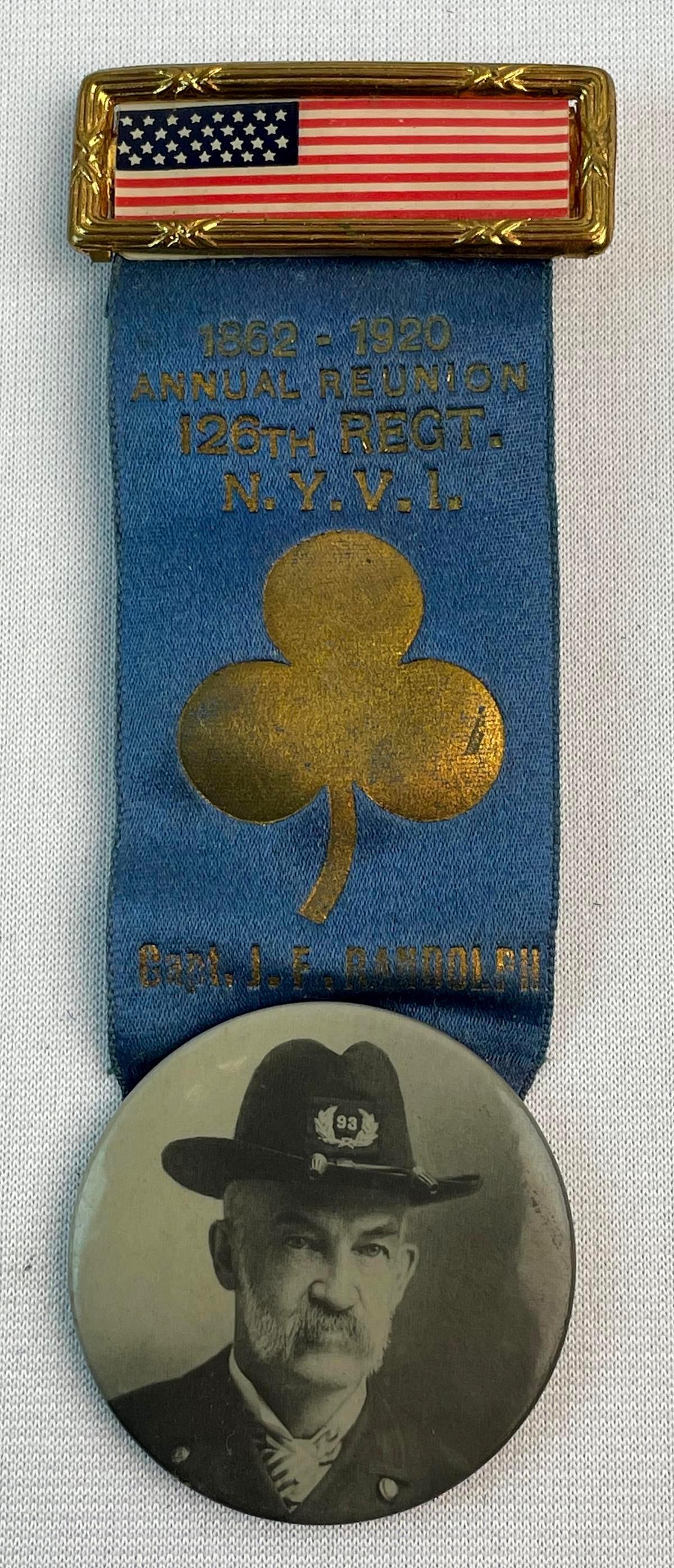Antique 1920 GAR Captain J. F. Randolph 126th Regiment Silk Ribbon Medal w/ Celluloid Photo Button