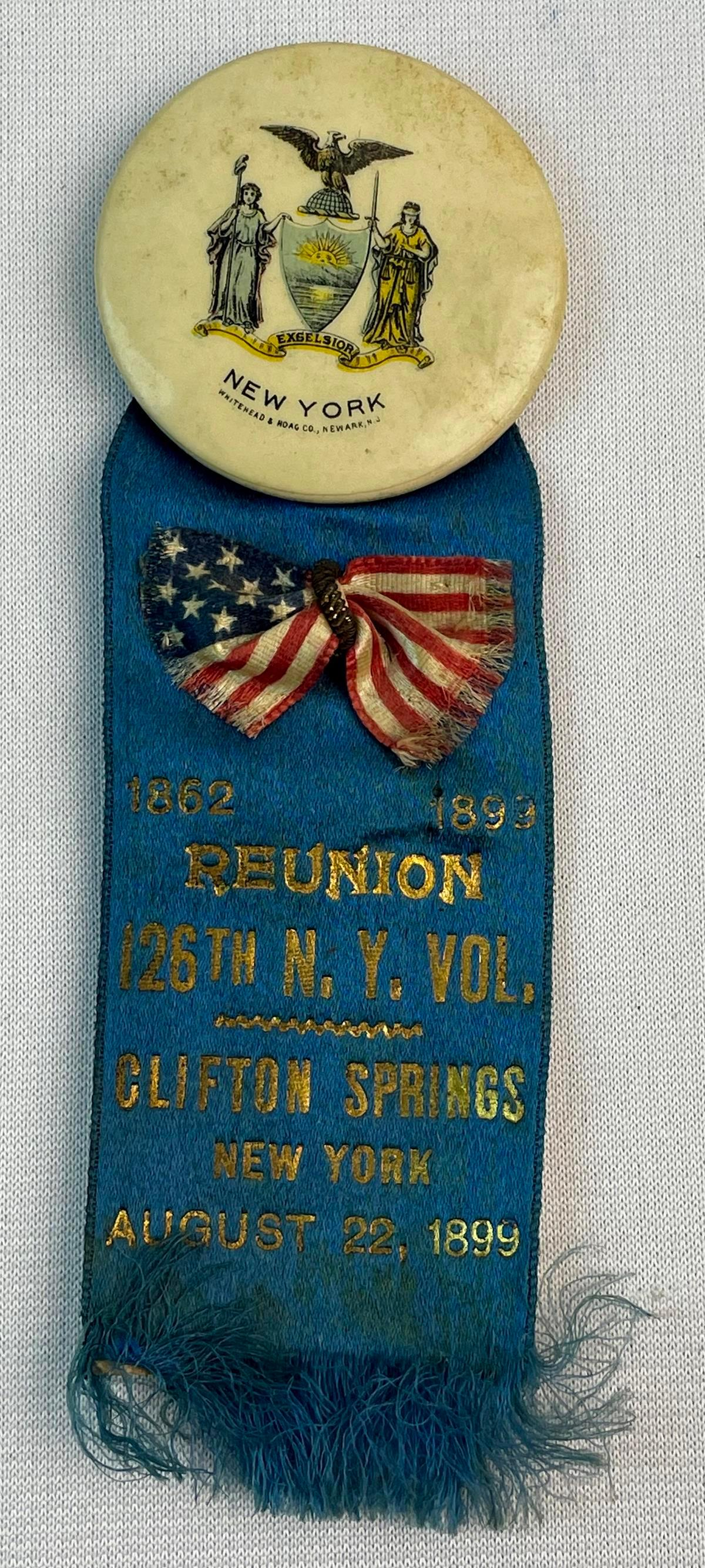 Antique 1899 GAR Clifton Springs NY 126th Reunion Silk Ribbon Medal w/ Celluloid New York Button