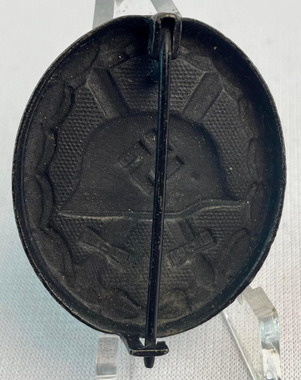 Vintage German WWII Black Wound Helmet / Crossed Swords Badge