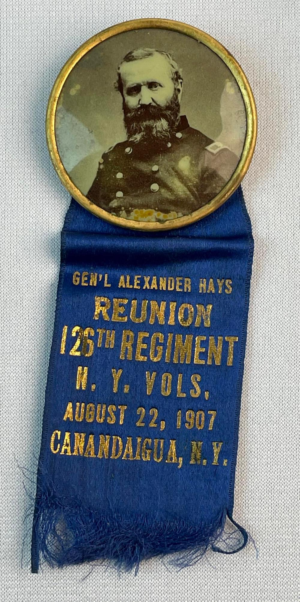 Antique 1907 GAR General Alexander Hays 126th Regiment Canandaigua NY Reunion Silk Ribbon Badge w/ Celluloid Photo Button