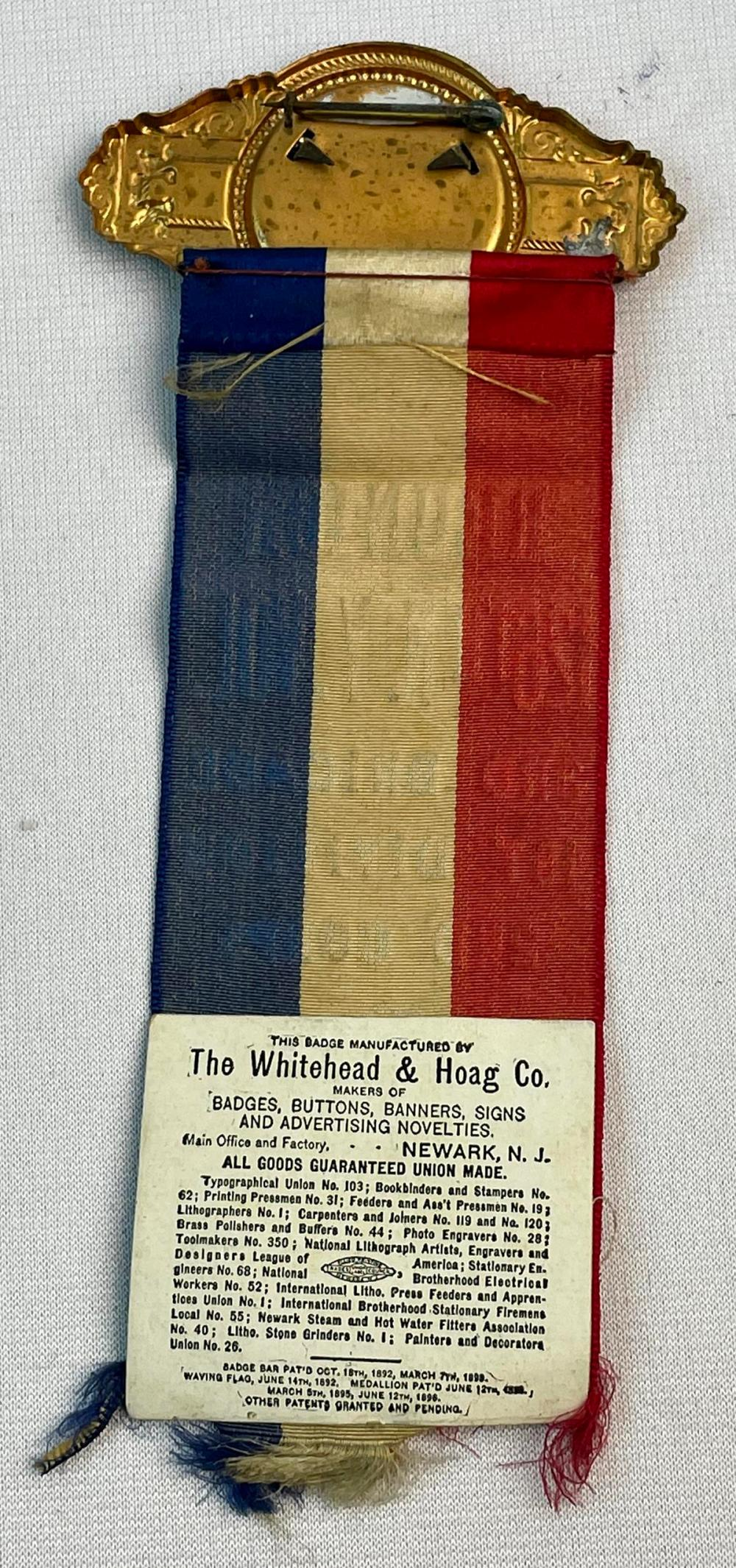 Antique 1906 GAR 126th Regiment Geneva NY Reunion Silk Ribbon Badge w/ Celluloid Soldier Photo