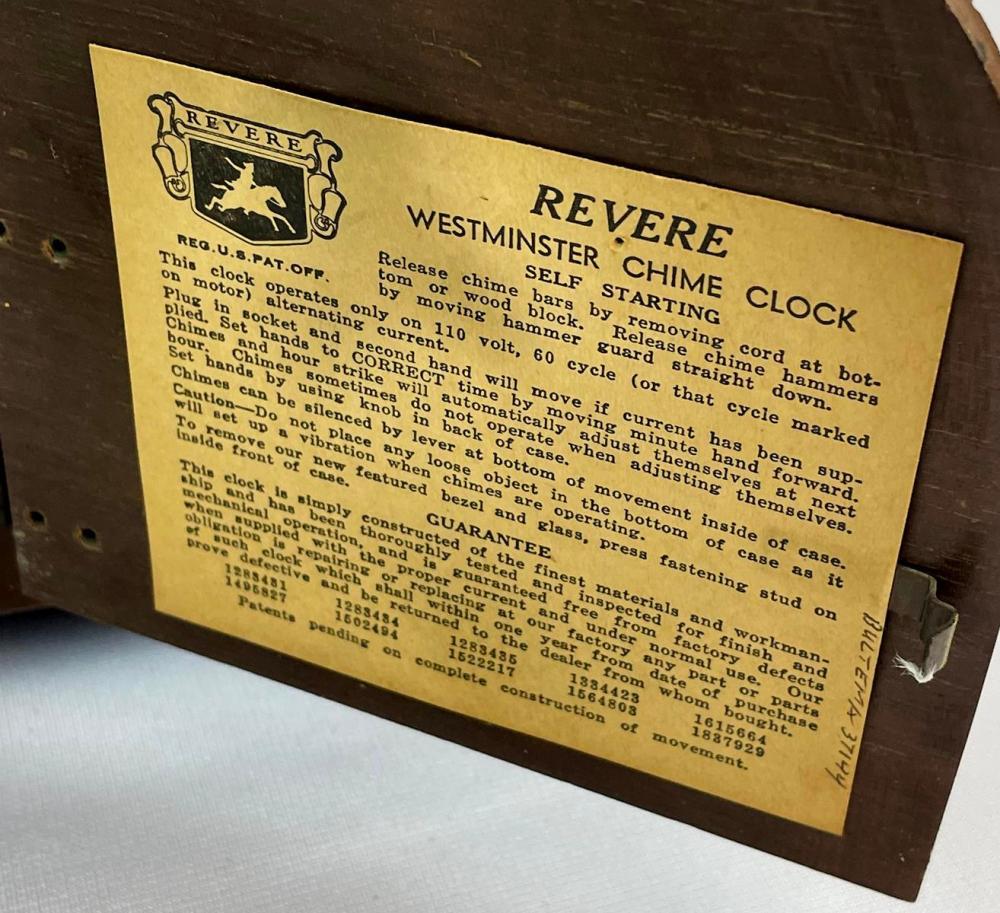 Vintage 1962 Revere Westminster Chime Electric Wood Mantle Clock WORKS