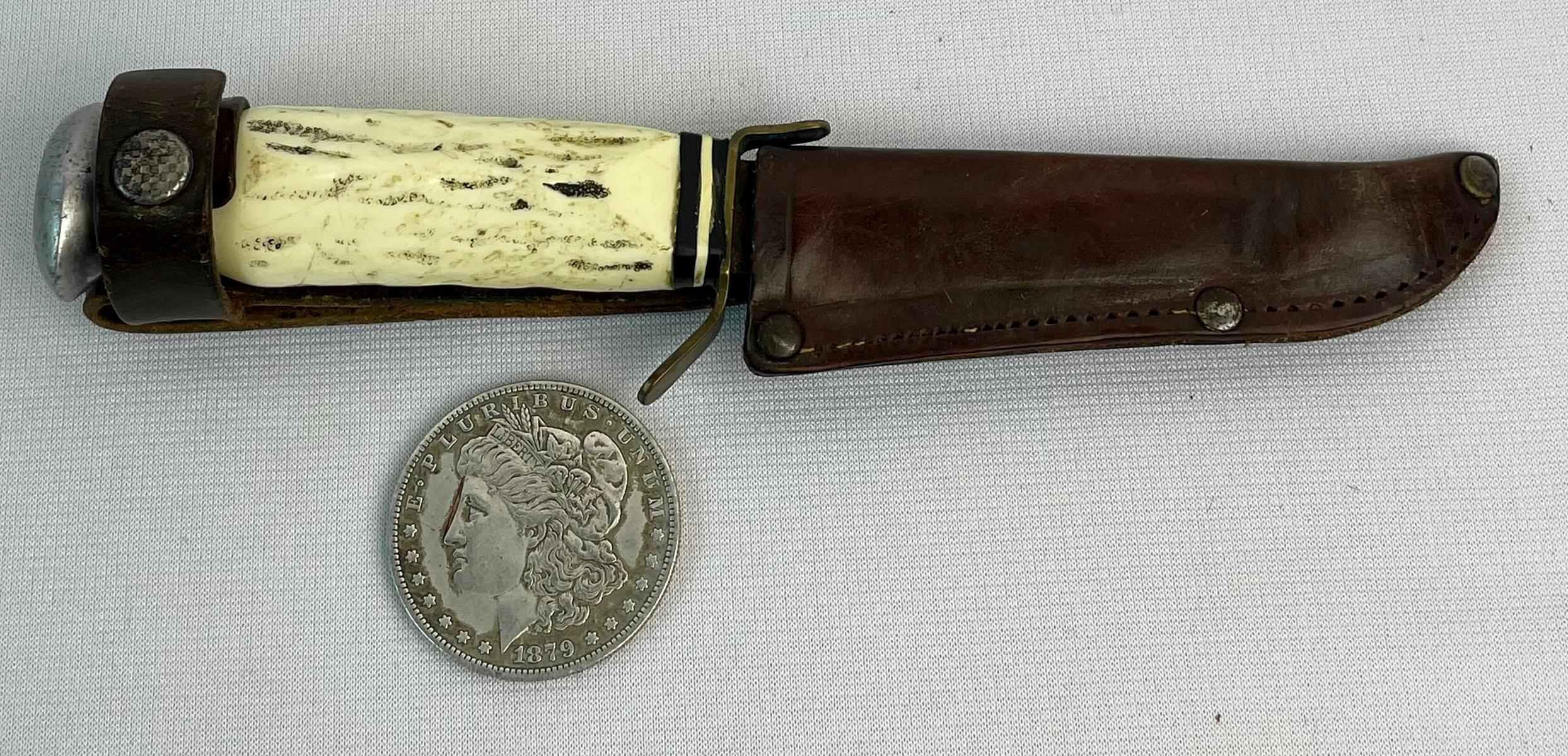 Vintage Germany PIC Solingen Stag Hunting Dagger Knife w/ Leather Sheath