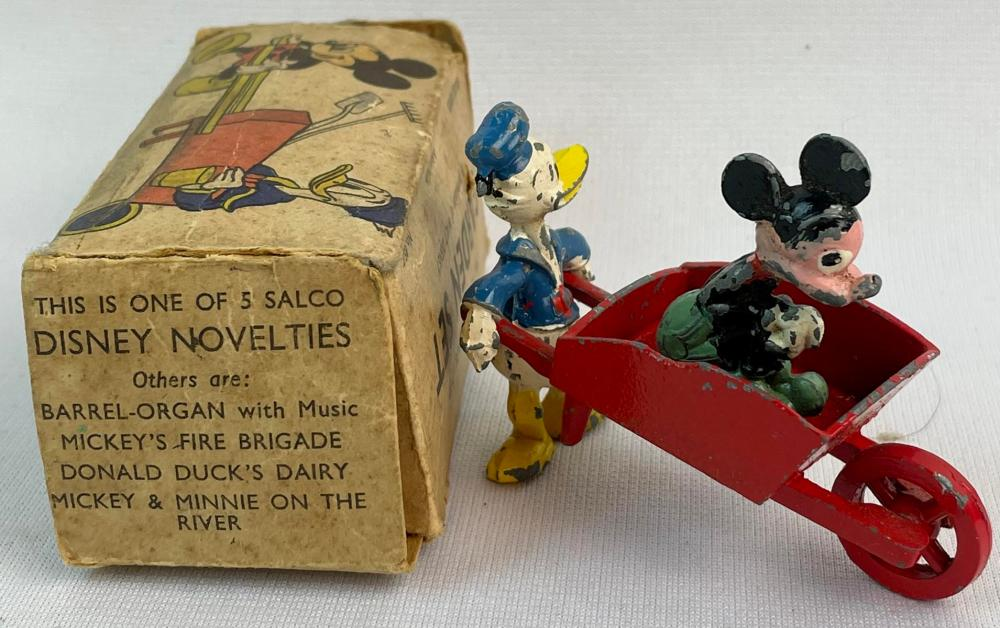 Vintage 1930's British Salco Mickey Mouse & Donald Duck Garden Set w/ Original Box