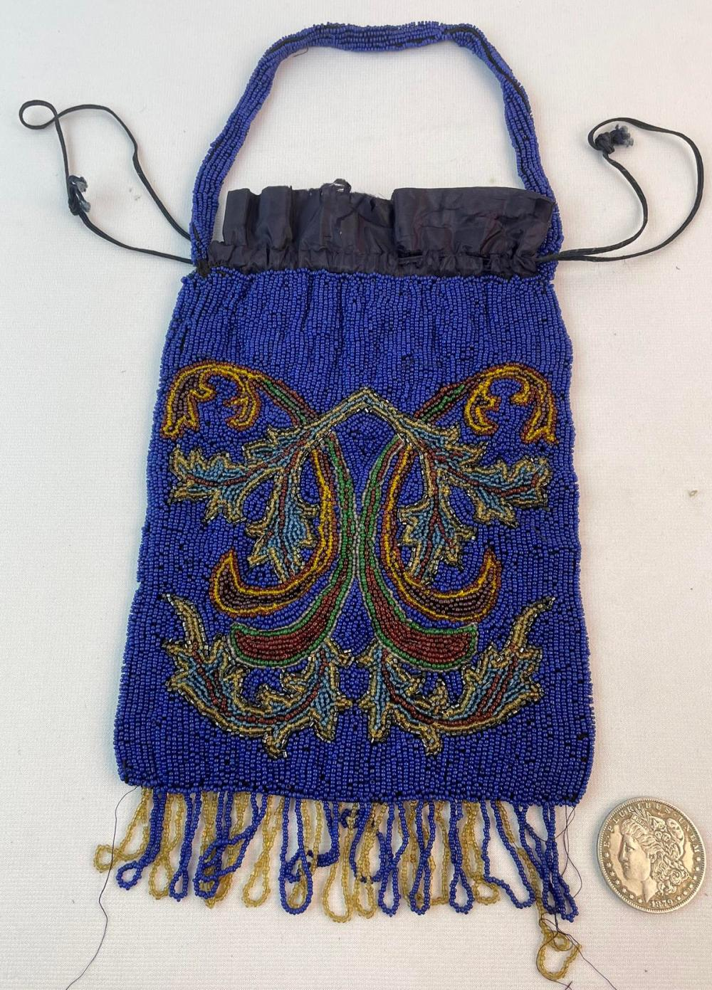 Antique c. 1900 Cobalt Blue and Multi Colored Floral Accent Beaded Large Bag Made in France