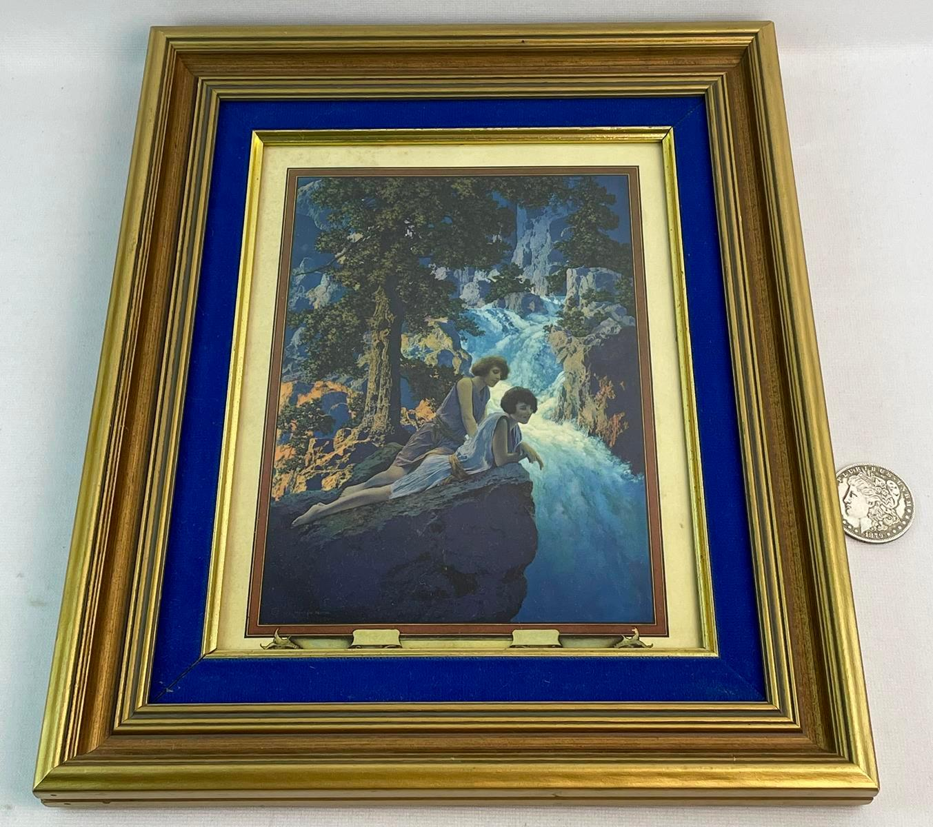 """Vintage 1931 Mazda Lamp Co. Calendar Top """"Waterfall"""" by Maxfield Parrish FRAMED"""