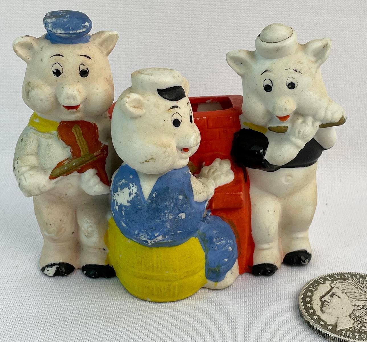 1930's Walt Disney's Three Little Pigs Bisque Figurine Toothbrush Holder