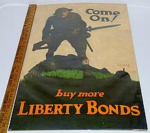 """1918 WWI """"Come On! Buy More Liberty Bonds"""" Linen Backed Poster by Walter Whitehead"""