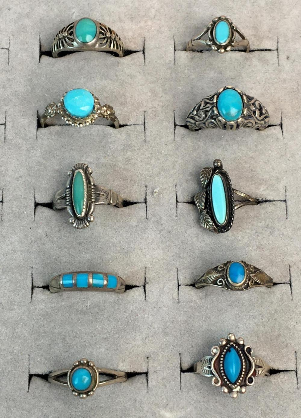 Vintage Lot of 10 Sterling Silver & Turquoise Rings