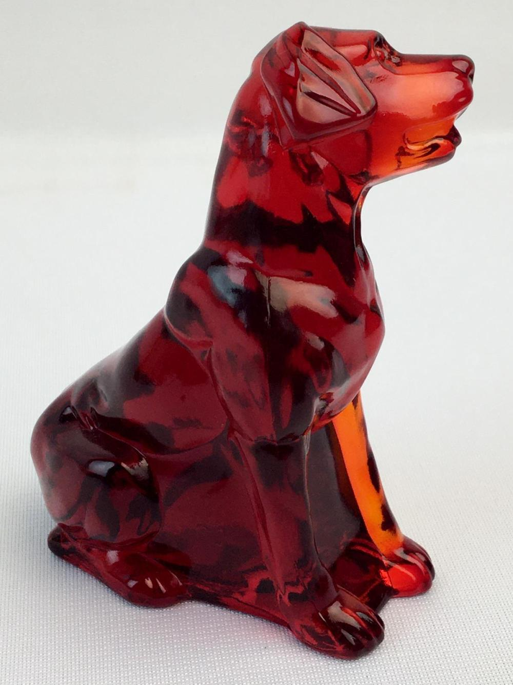 Mosser Glass Ruby Red Labrador Retriever Dog Figurine / Paperweight