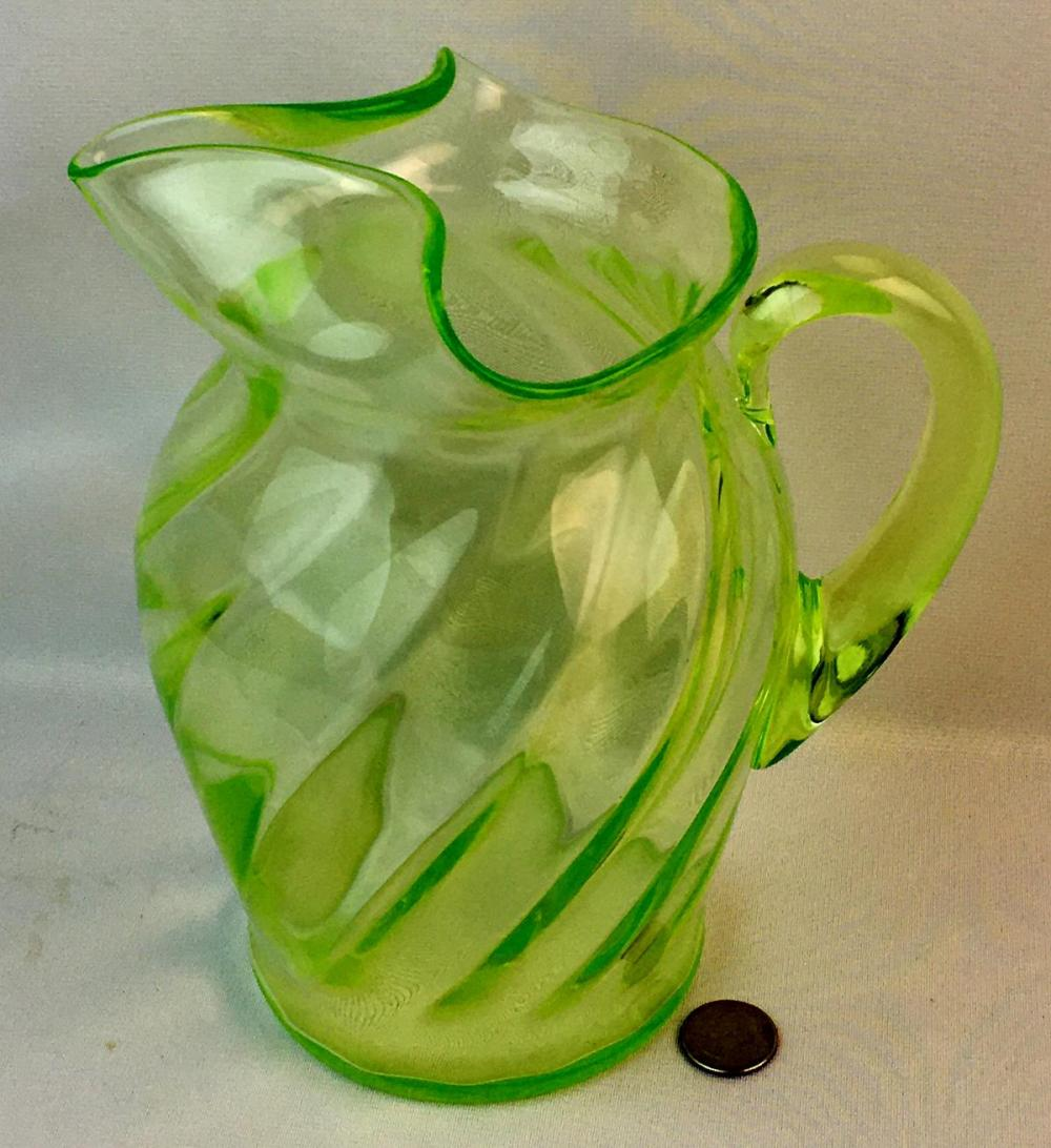 Vintage c. 1930 Large Vaseline Uranium Green Depression Glass Twist Pattern Pitcher w/ Applied Handle & Pour Spout