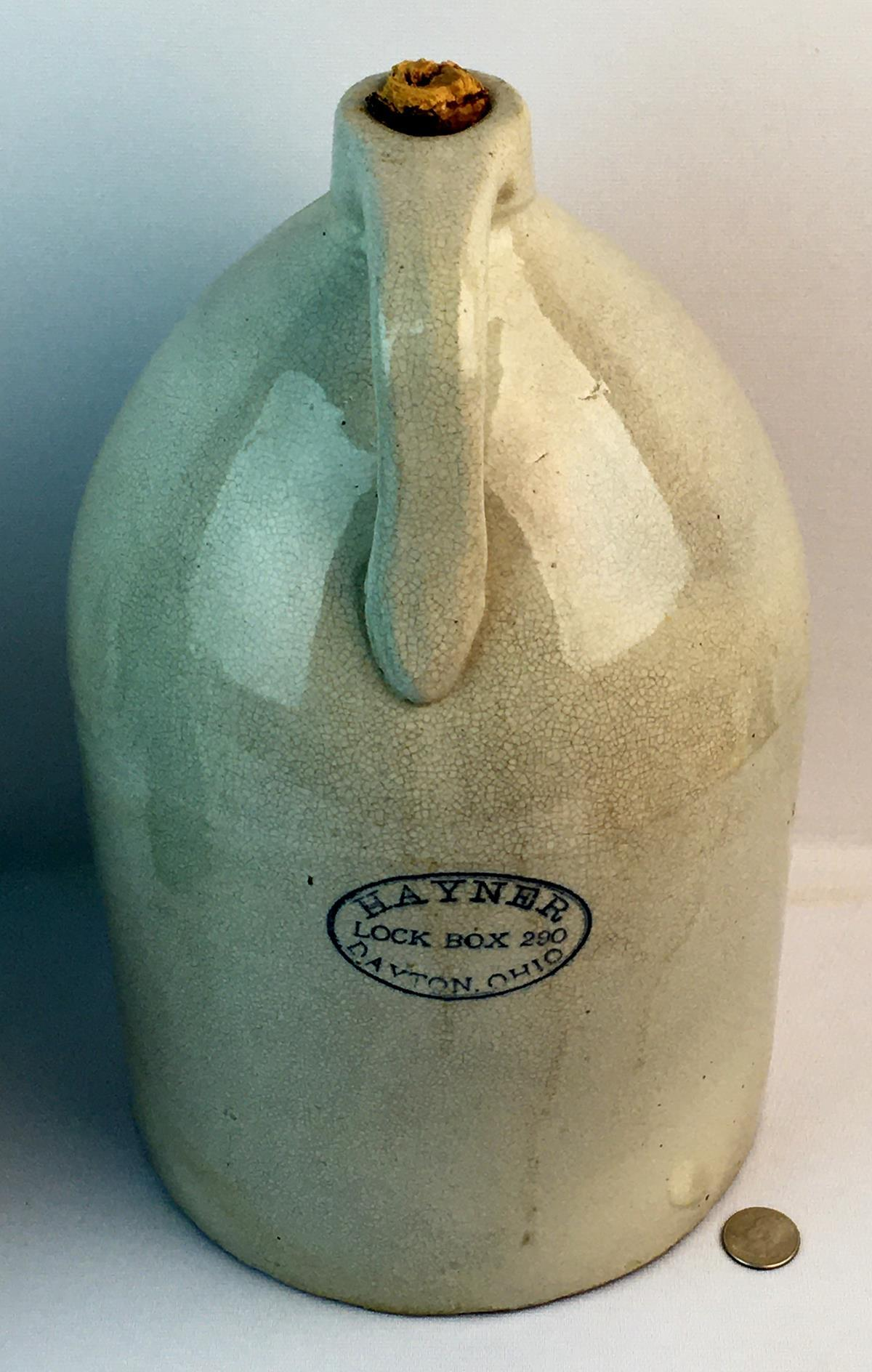 Antique Hayner Lock Box 290 Advertising Stoneware Jug w/ Original Cork Top