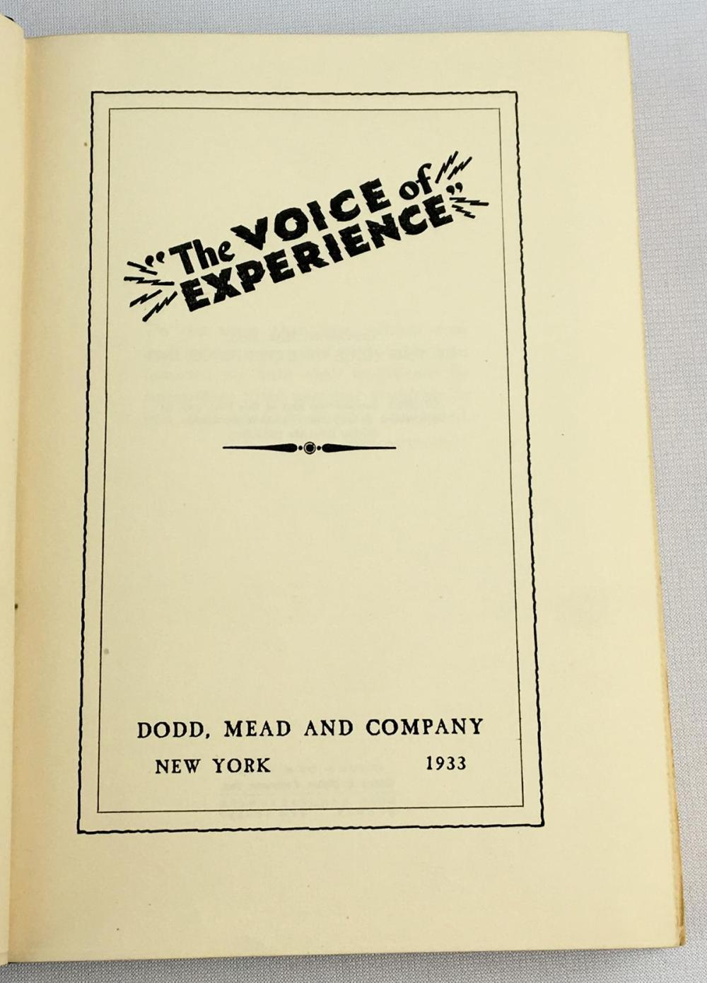 1933 The Voice Of Experience Full Leather w/ Case SIGNED Limited Edition #373 FIRST EDITION