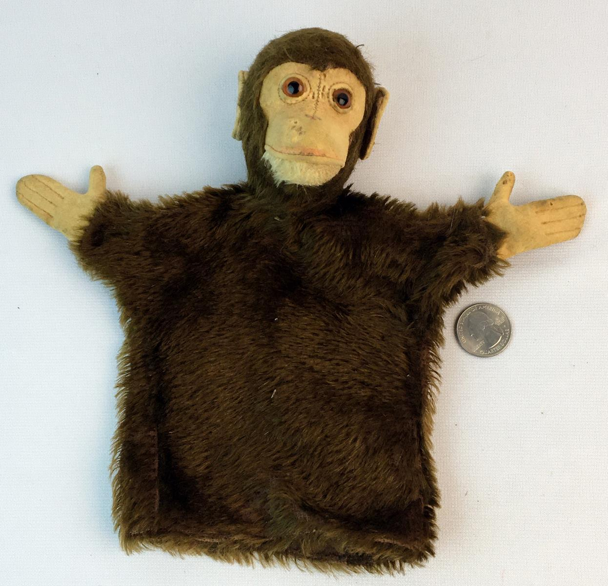 "Antique Steiff Mohair ""Jocko"" The Monkey Mohair Hand Puppet w/ Glass Eyes"