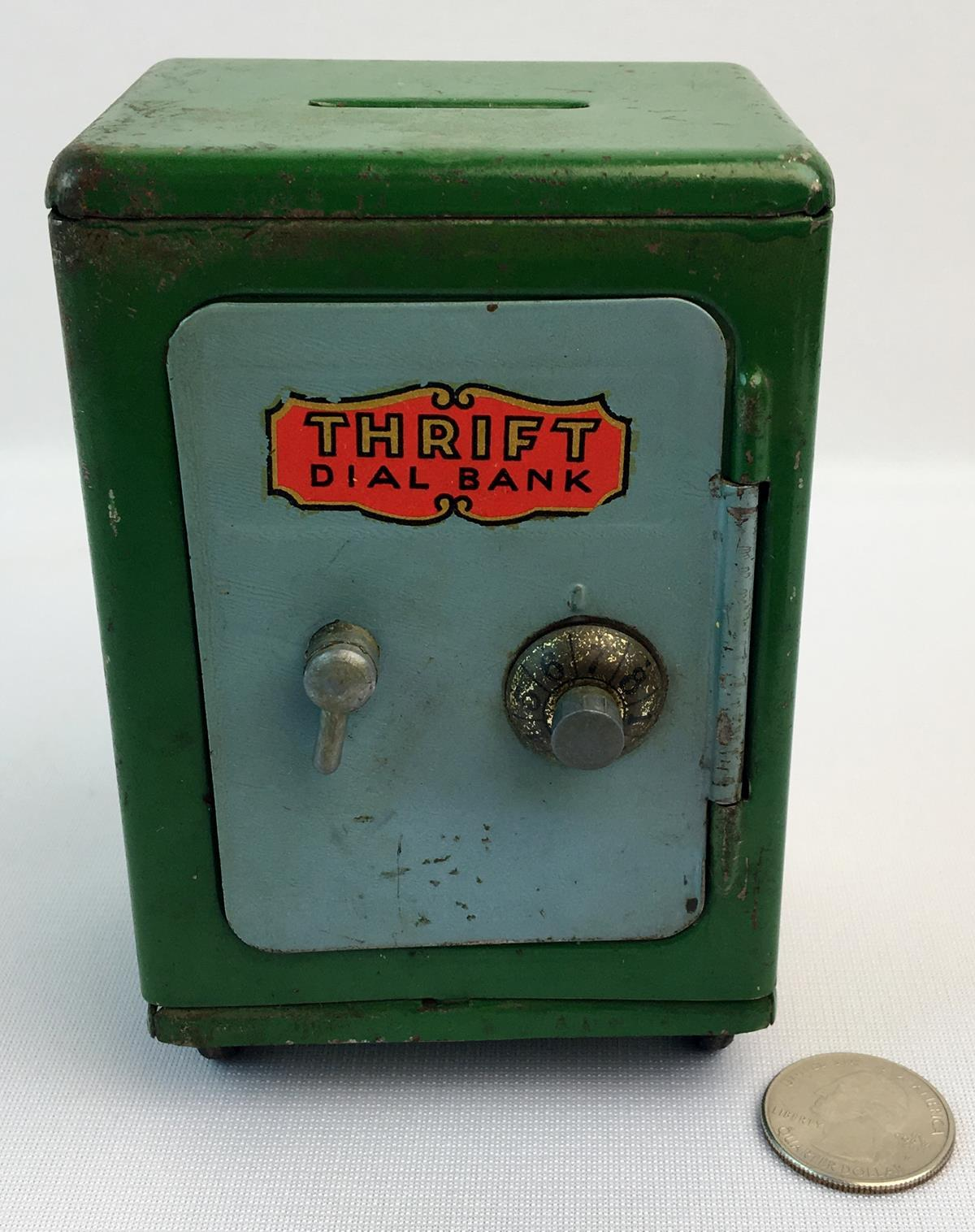 "Vintage 1930's Louis Marx Toy ""Thrift Dial Bank"" Metal Vault Combination Safe"