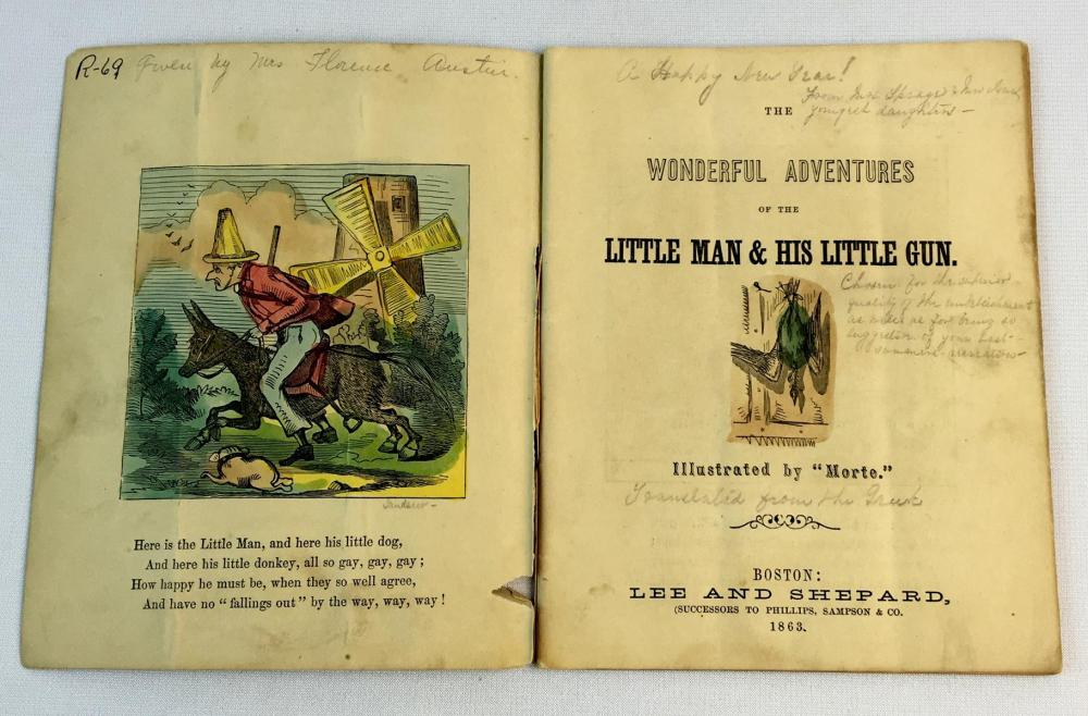 1863 Wonderful Adventures Of The Little Man & His Little Gun by Lee & Shepard Illustrated FIRST EDITION