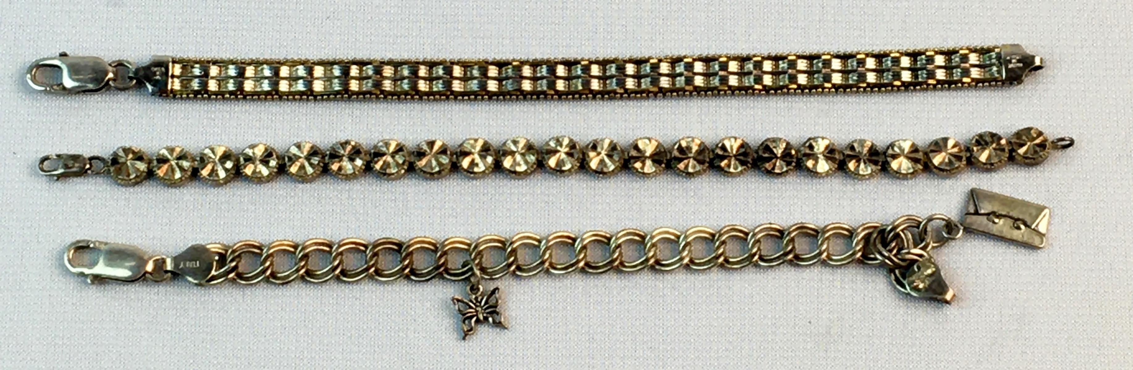 Vintage Lot of 3 Sterling Silver Bracelets (Beverly Hills Silver, Charm, Italy)