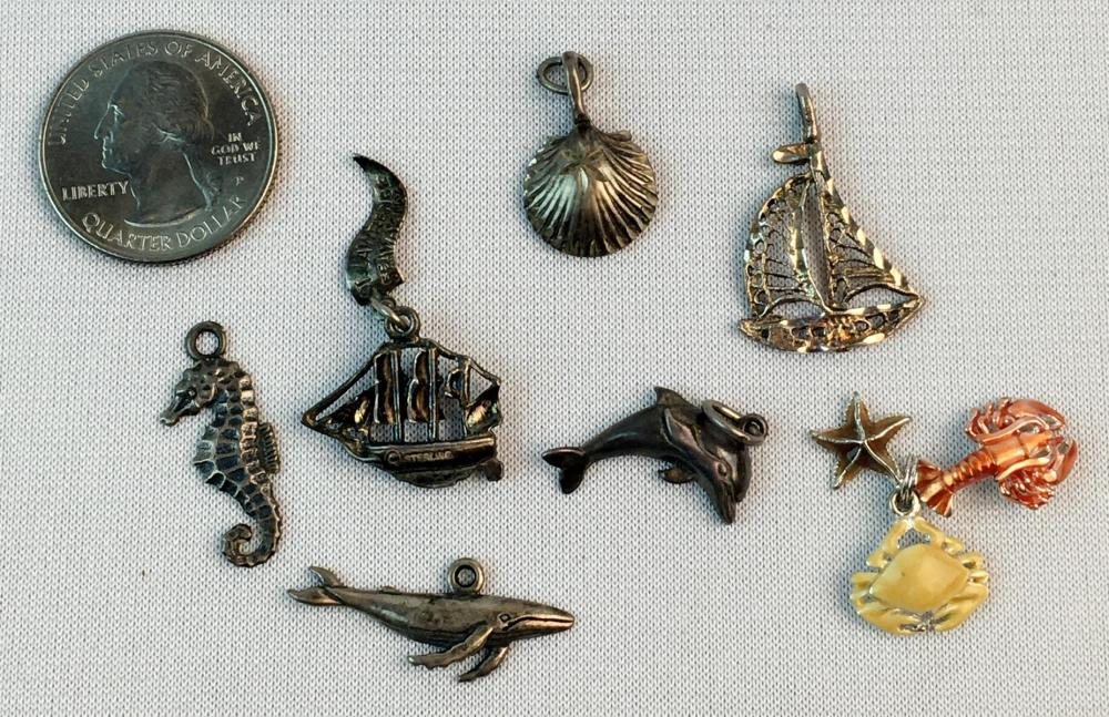 Lot of 7 Ocean / Nautical Sterling Silver Charms (Ships, Animals, Etc.)