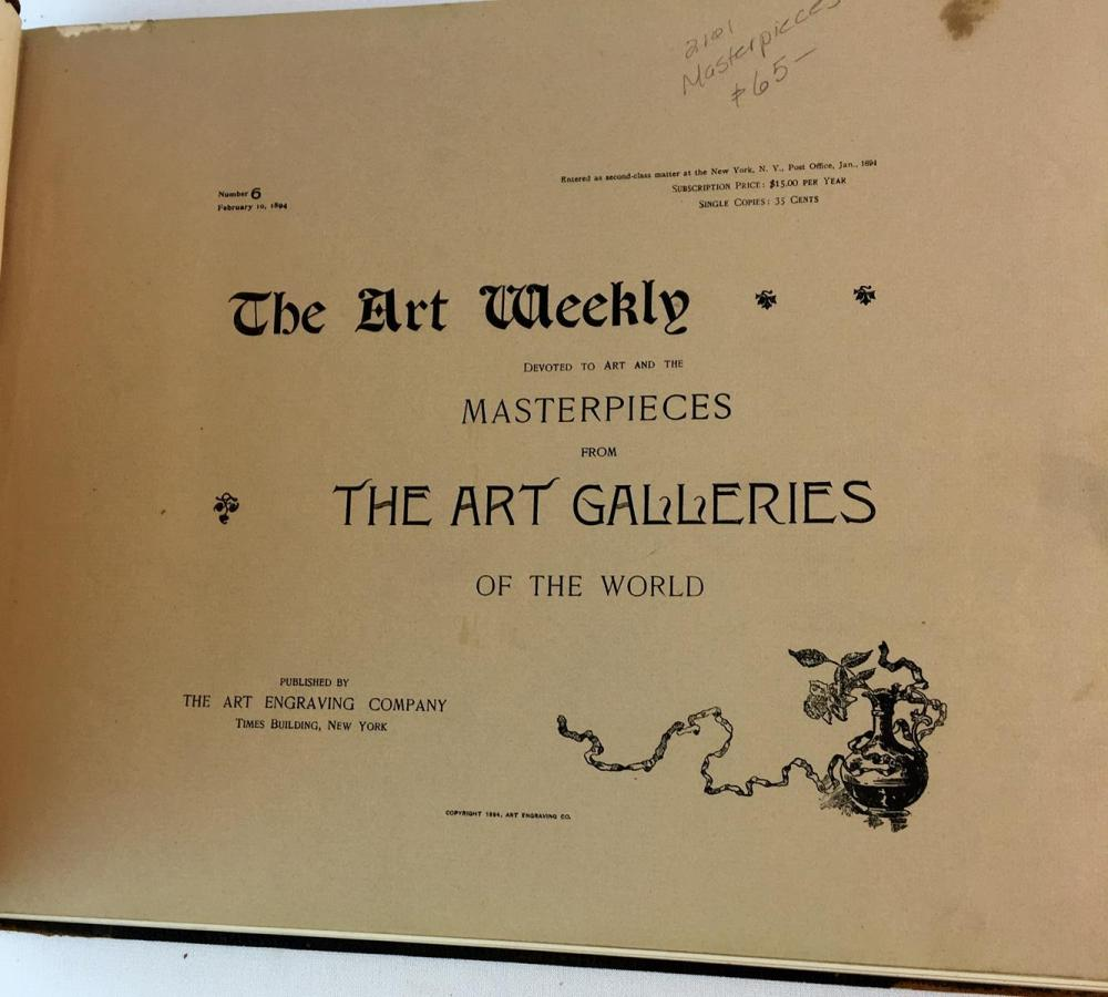 1894 The Art Weekly No. 6 Masterpieces From The Art Galleries Of The World ILLUSTRATED