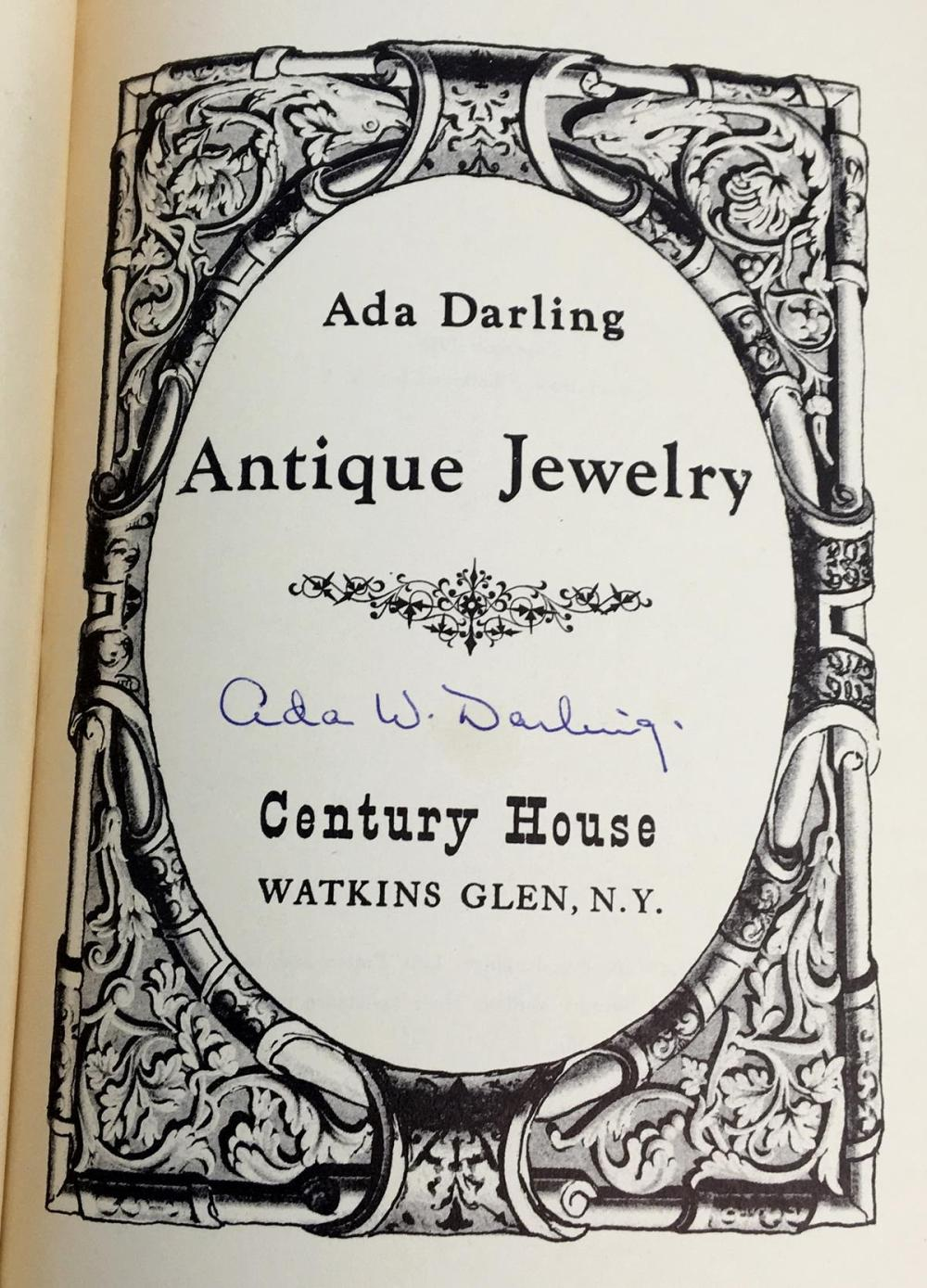 1953 Antique Jewelry by Ada Darling SIGNED Illustrated FIRST EDITION