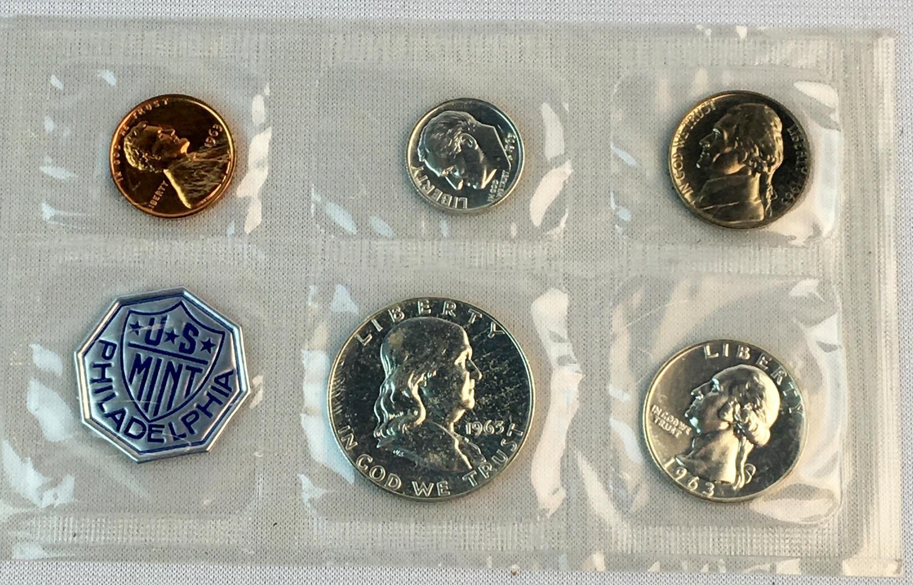 1963 US Philadelphia Mint Silver Proof 5 Coin Set In Original Packaging