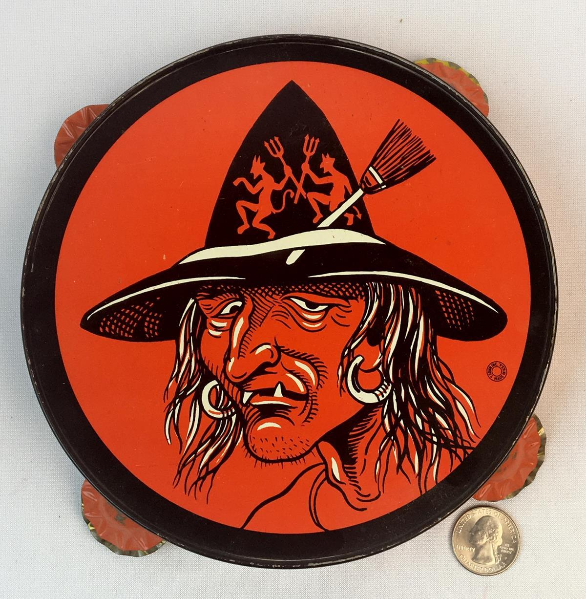 Vintage 1950's T. Conn Halloween Witch Tin Litho Tambourine