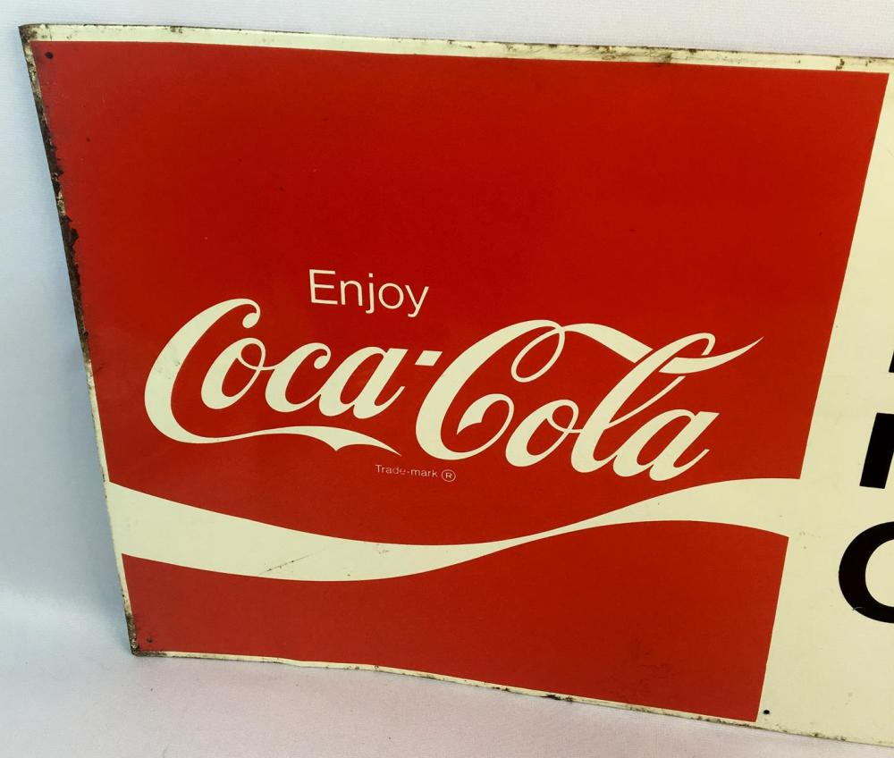 """Vintage 1969 Coca-Cola """"It's the Real Thing"""" Metal Advertising Sign"""
