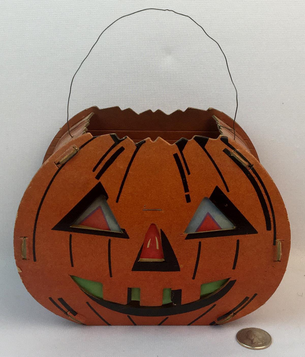 Vintage c. 1950 Original Halloween Pumpkin Cardboard Jack-O-Lantern w/ Face Inserts and Candle Holder